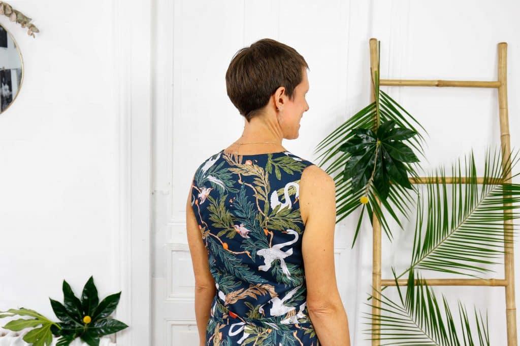 Robe longue en coton bio imprimé jungle dos