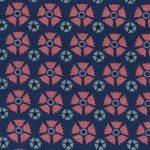 Echantillon tissu coton bio bleu fleurs vieux rose