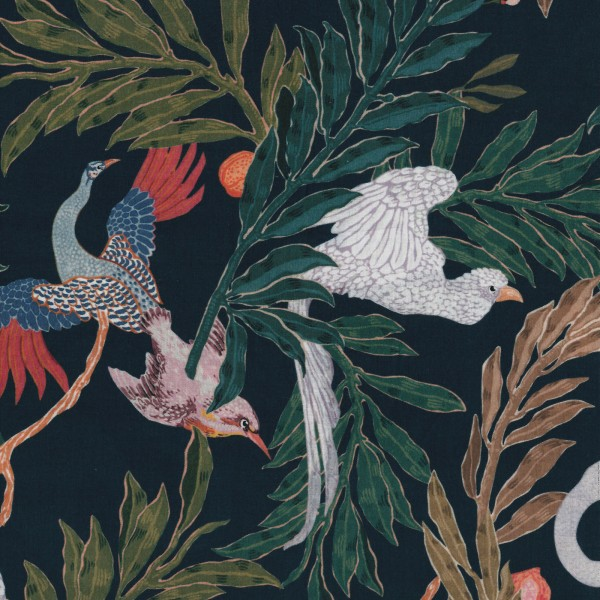 Echantillon tissu coton bio marine imprimé jungle
