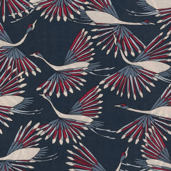 Echantillon tissu coton bio imprimé oiseaux bleu et rouge