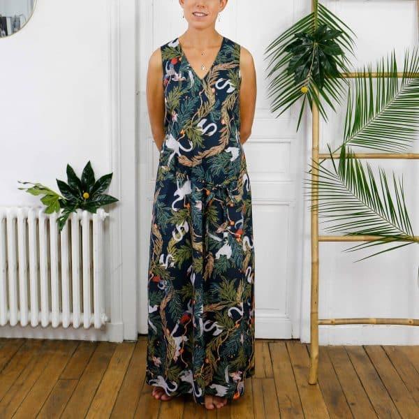 robe ananké longue imprimé jungle coton bio