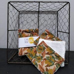 Lingettes lavables feuilles treillis