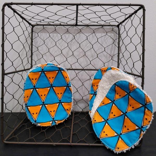 lingettes lavables renard orange et turquoise
